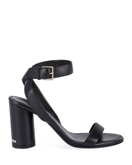 Balenciaga Oval Leather Ankle Sandals