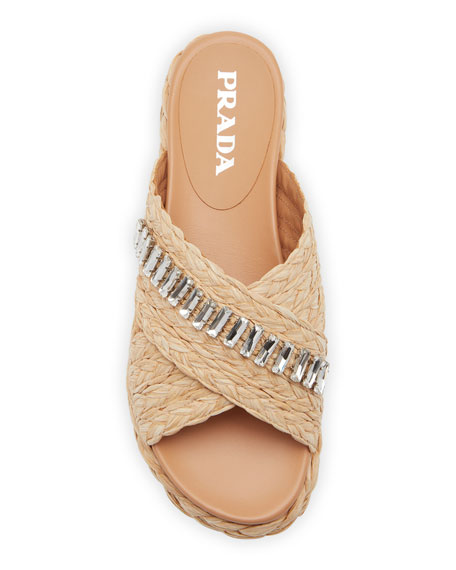 Prada Flat Jeweled Raffia Slide Sandals