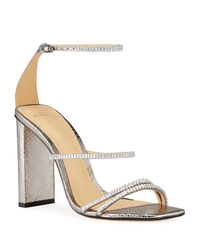 Lacy Snakeskin Embellished Sandals