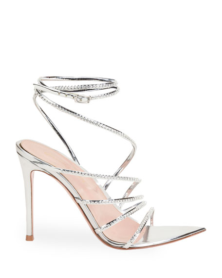 Image 1 of 2: Gianvito Rossi 105mm Metallic Strappy Sandals