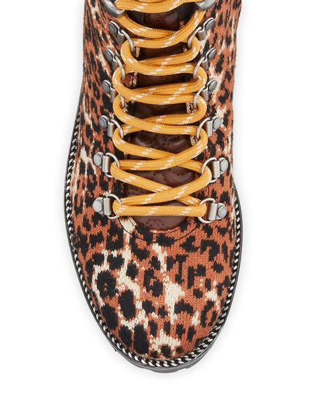 Coach Lorren Leopard-Print Combat Boots