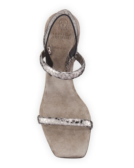 Brunello Cucinelli 80mm Metallic Textured Leather Sandals