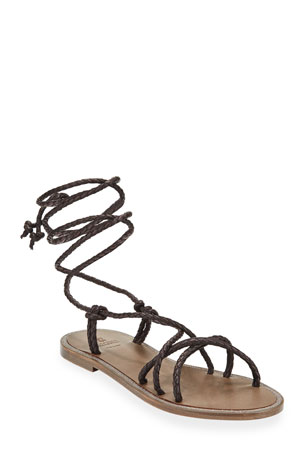 Brunello Cucinelli Braided Leather Wrap Sandals