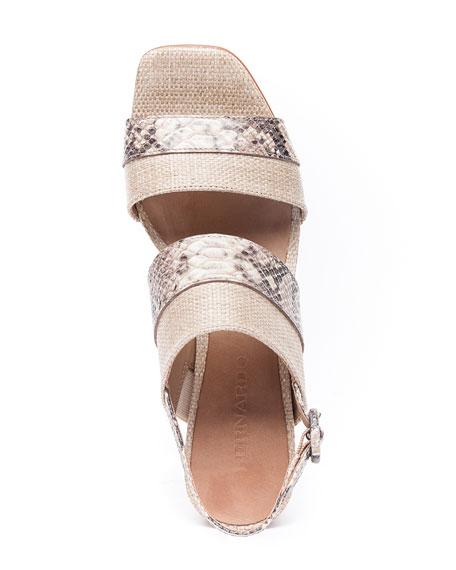 Bernardo Racquel Snake-Print Sandals