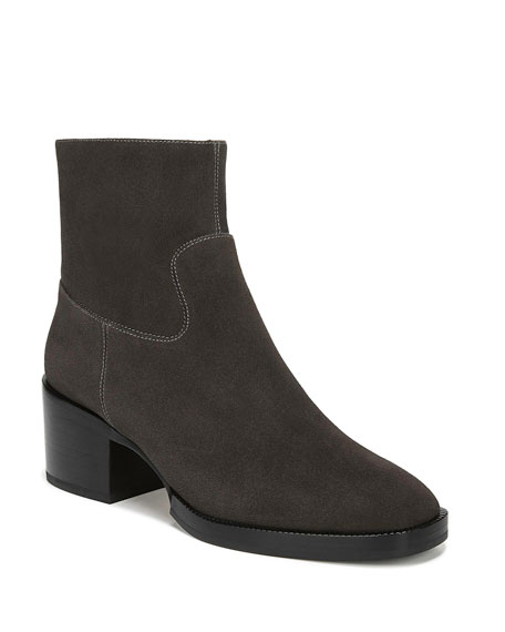 Image 1 of 4: Ginevra Suede Zip Booties