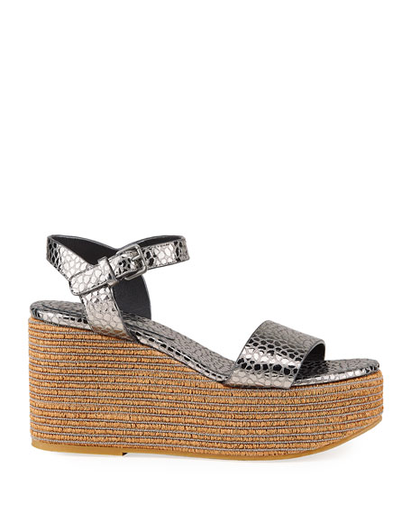 Image 2 of 4: Brunello Cucinelli Metallic Ankle-Strap Wedge Espadrilles