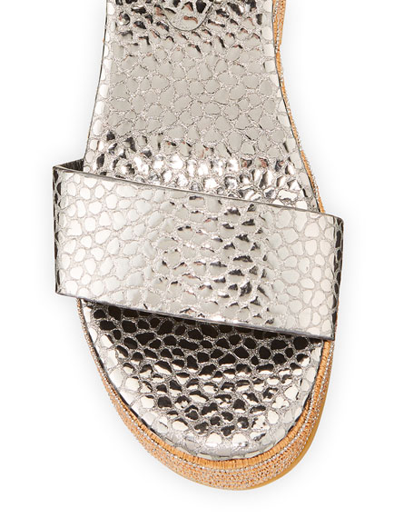 Image 3 of 4: Brunello Cucinelli Metallic Ankle-Strap Wedge Espadrilles