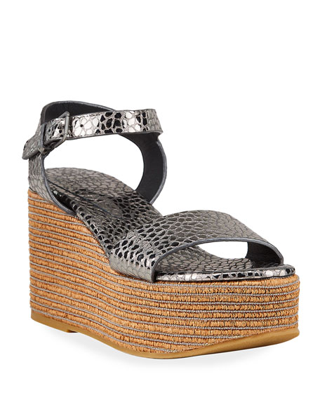 Image 1 of 4: Brunello Cucinelli Metallic Ankle-Strap Wedge Espadrilles