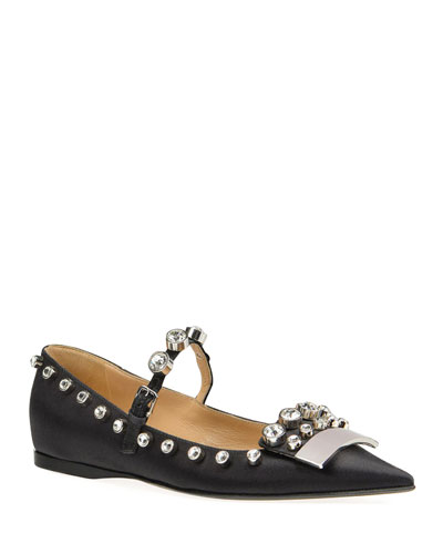 SR1 Satin Mary Jane Flats
