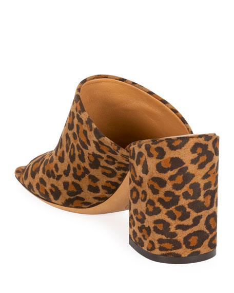 Dries Van Noten Leopard Suede Slide Sandals