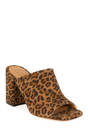 Dries Van Noten Leopard Suede Slide Sandals