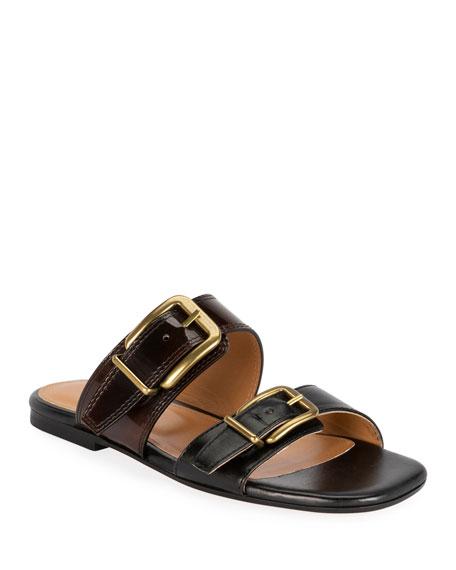Dries Van Noten Two-Strap Flat Slide Sandals