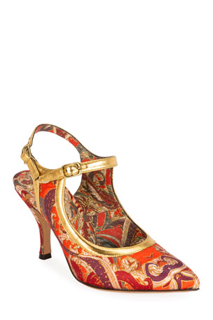 Dries Van Noten Chinoiserie Paisley Pointed Pumps