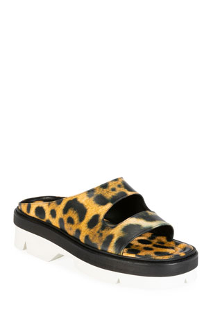 Dries Van Noten Two-Strap Leopard Calf Hair Slide Mules