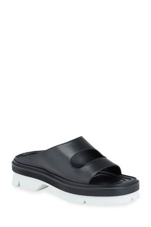 Dries Van Noten Two-Strap Leather Slide Mules