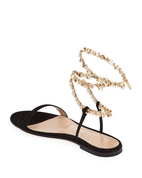 Image 4 of 4: Gianvito Rossi Suede Chain Ankle-Wrap Flat Sandals