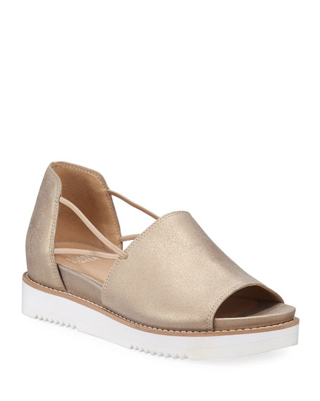 Eileen Fisher Ken Metallic Leather Wedge Sandals
