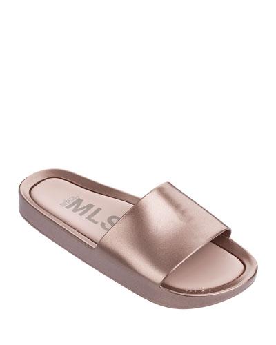 Beach Metallic Slide Sandals