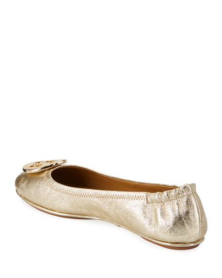 Tory Burch Minnie Metallic Travel Ballet Flats With Logo