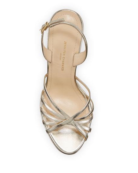 Jennifer Chamandi Roberto Metallic Leather Platform Sandals