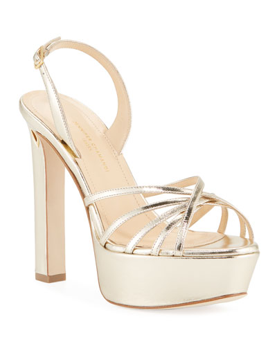 Roberto Metallic Leather Platform Sandals