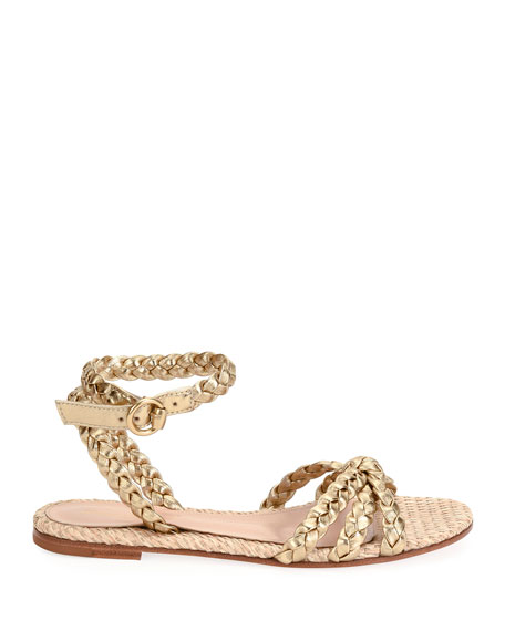 Image 2 of 4: Raffia & Braided Leather Flat Sandals
