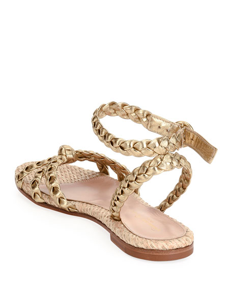 Image 3 of 4: Raffia & Braided Leather Flat Sandals