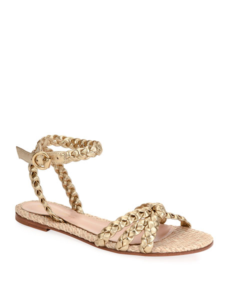 Image 1 of 4: Raffia & Braided Leather Flat Sandals