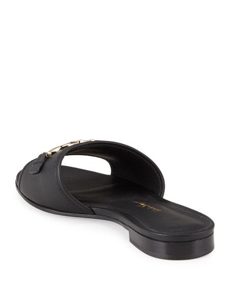 Salvatore Ferragamo Casual Gancini Horsebit Flat Slide Sandals