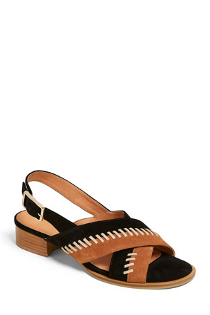 Jack Rogers Amelia Stitched Suede City Sandals