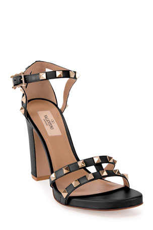 Valentino Garavani 105mm Rockstud Leather Chunky-Heel Sandals