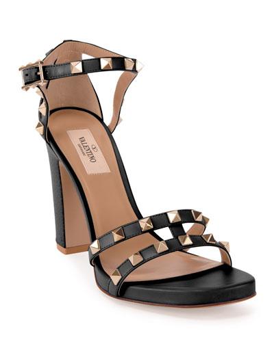 105mm Rockstud Leather Chunky-Heel Sandals