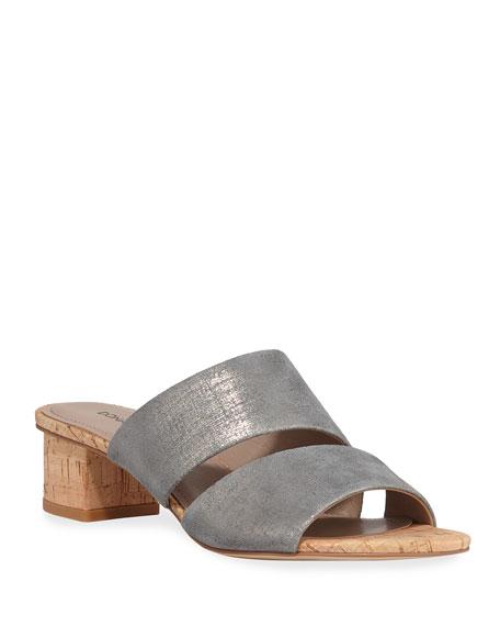 Donald J Pliner Margret Metallic Two-Band Slide Sandals