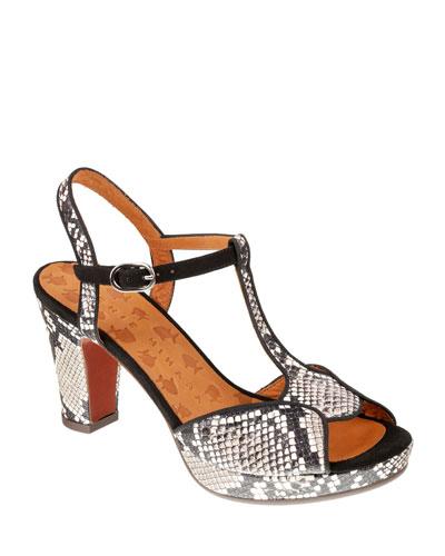 Eduni Peep-Toe T-Strap Snake-Print Sandals