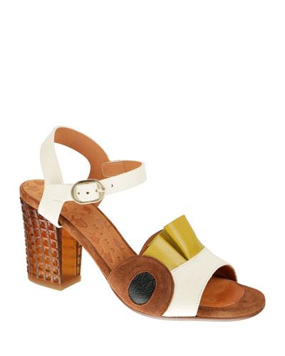 Kaela Ruffle-Trim Open-Toe Sandals