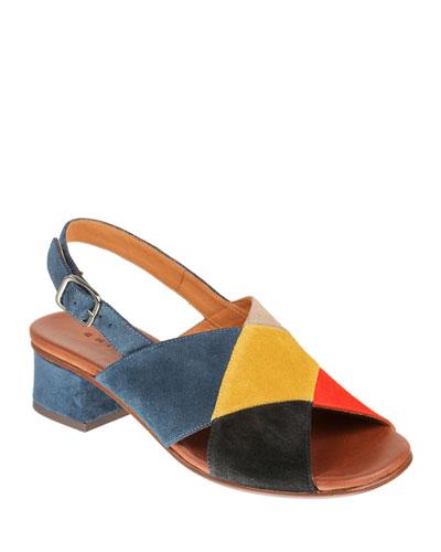 Quirita Colorblock Suede Sandals
