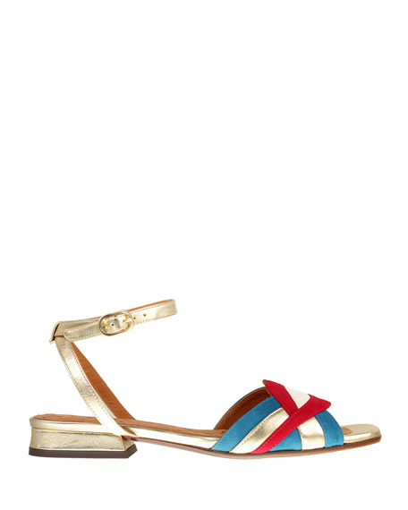 Chie Mihara Timai Suede Colorblock Sandals