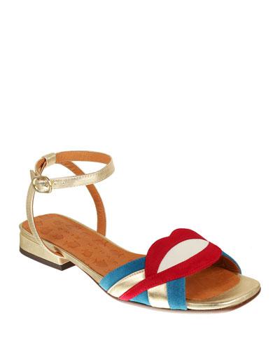 Timai Suede Colorblock Sandals