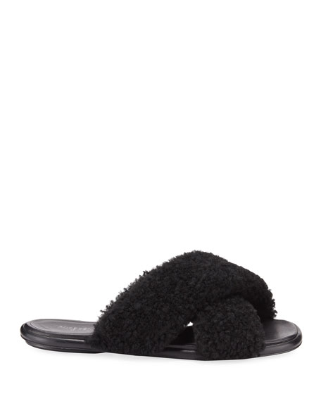 Image 2 of 4: Crossover Shearling Slide Sandals