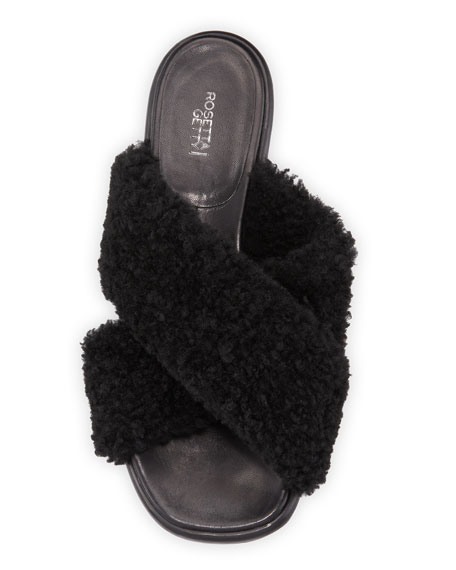 Image 3 of 4: Crossover Shearling Slide Sandals