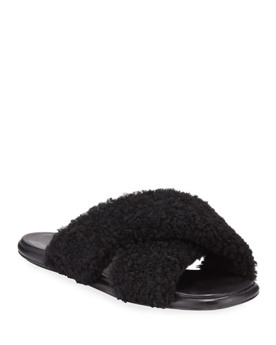 Crossover Shearling Slide Sandals