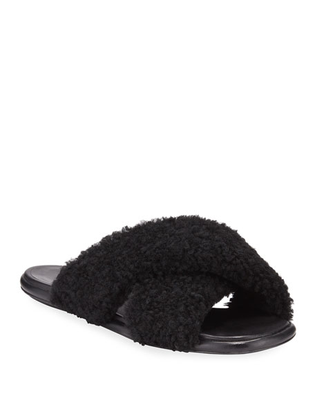 Image 1 of 4: Crossover Shearling Slide Sandals