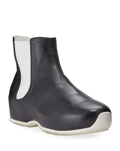 x ECCO Contrast Leather Clog Booties