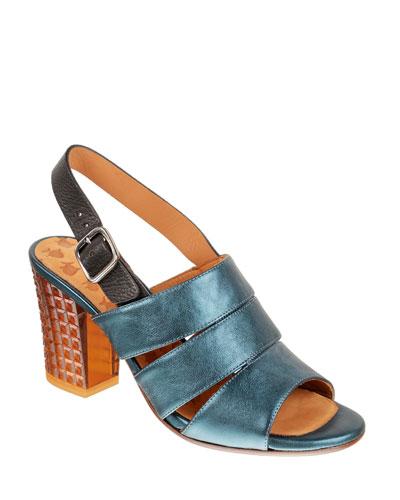 Kelli Metallic Leather Ankle Sandals