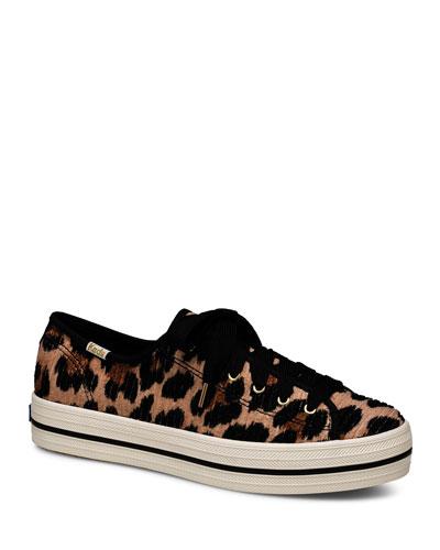 x kate spade Triple Kick Leopard-Print Corduroy Tennis Shoes