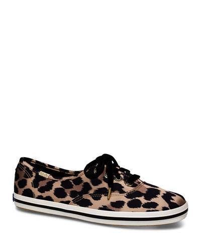 x kate spade champion leopard satin sneakers