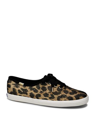 x kate spade champion glitter leopard sneakers