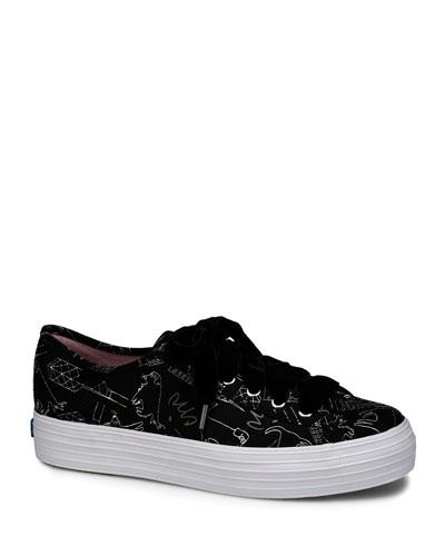x CJW Triple Kick Doodle-Print Silk Tennis Shoes