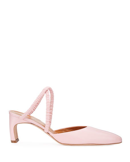 Rosetta Getty Ballerina-Point Ruched Leather Mules