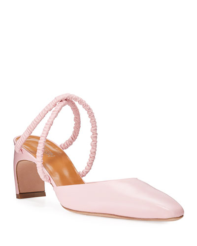 Ballerina-Point Ruched Leather Mules
